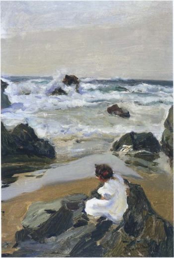 Elenita at the Beach Asturias | Joaquin Sorolla y Bastida | oil painting