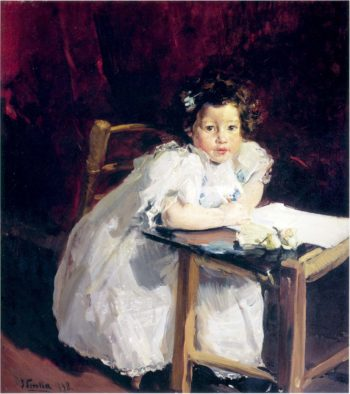 Elenita at her desk | Joaquin Sorolla y Bastida | oil painting