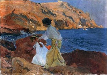 Clotilde and Elena on the Rocks at Javea | Joaquin Sorolla y Bastida | oil painting