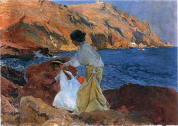 Clotilde and Elena on the Rocks at Javea | Joaquin Sorolla y Bastida | oil painting