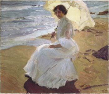 Clothilde at the Beach | Joaquin Sorolla y Bastida | oil painting