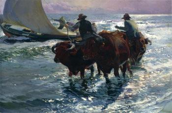 Bulls in the Sea | Joaquin Sorolla y Bastida | oil painting