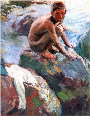 Boy on the Rocks Javea | Joaquin Sorolla y Bastida | oil painting