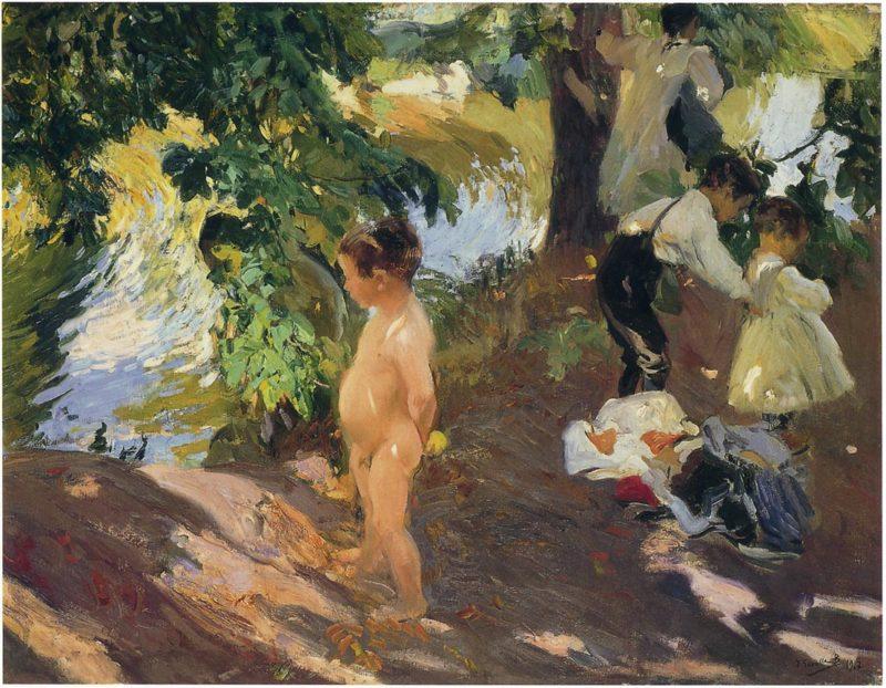 Bathing at La Granja | Joaquin Sorolla y Bastida | oil painting