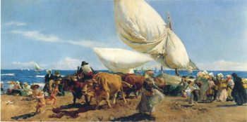 Arrival of the Fishing Boats on the beach Valencia | Joaquin Sorolla y Bastida | oil painting