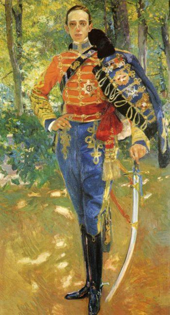 Alphonso XIII in Hussars Uniform | Joaquin Sorolla y Bastida | oil painting