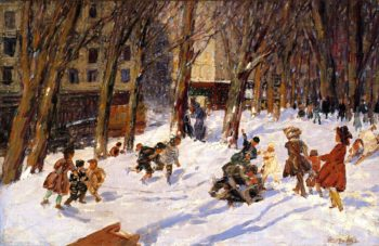Winter High Bridge Park | George Benjamin Luks | oil painting