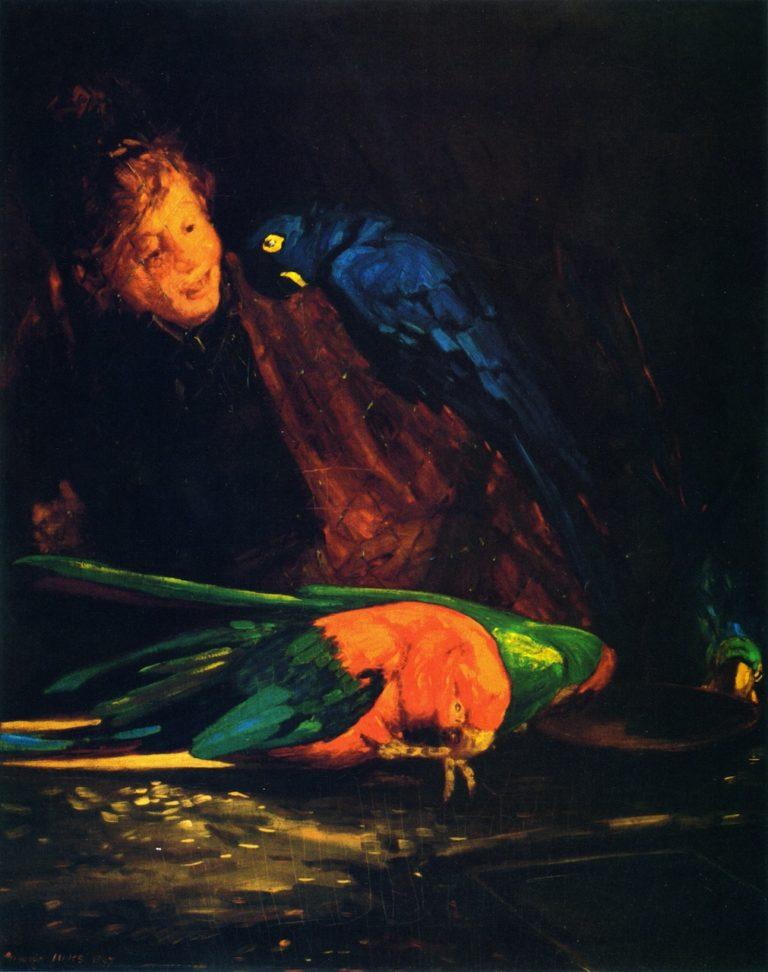 Woman and Macaws | George Benjamin Luks | oil painting