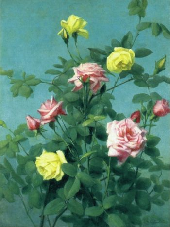 Pink and Yellow Roses | George Cochran Lambdin | oil painting