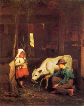 The Little White Heifer | George Cochran Lambdin | oil painting