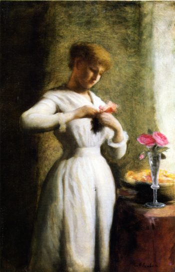 Woman with Roses | George Cochran Lambdin | oil painting
