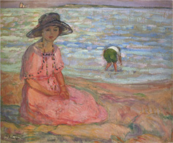 A girl in a pink robe by the sea | Henri Lebasque | oil painting