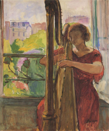 A girl playing a harp | Henri Lebasque | oil painting