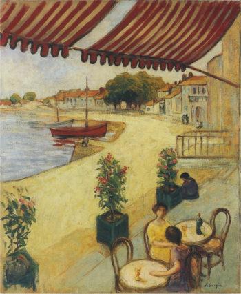 Cafe sur la Port   Henri Lebasque   oil painting