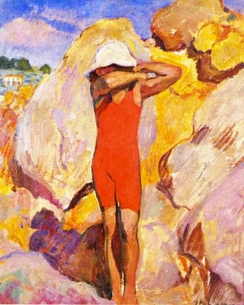Child in a Red Bathing Suit   Henri Lebasque   oil painting