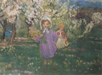 Children with spring flowers   Henri Lebasque   oil painting