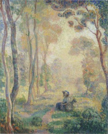 Child with goat in the Pierrefonds Forest   Henri Lebasque   oil painting