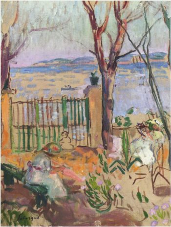 Garden by the sea in St Tropez   Henri Lebasque   oil painting