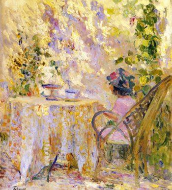 Girl by a Trellis   Henri Lebasque   oil painting