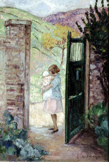 Girl by the Gate   Henri Lebasque   oil painting