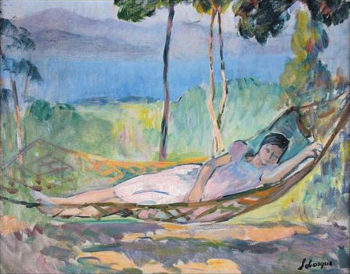 Girl in a hammock in Cannes   Henri Lebasque   oil painting