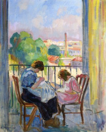 Girl Sewing at the Window   Henri Lebasque   oil painting