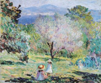 Girls in a landscape in Cannes   Henri Lebasque   oil painting
