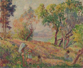 Girls in a landscape   Henri Lebasque   oil painting