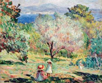 Girls in a Mediterranean landscape   Henri Lebasque   oil painting