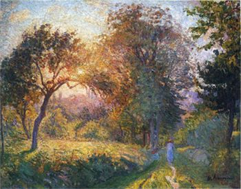 Girls in the Forest at Sunset   Henri Lebasque   oil painting