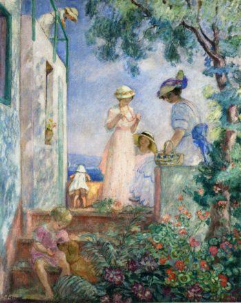 Girls on the Terrace Sainte Maxime   Henri Lebasque   oil painting