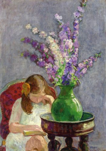 Girl with Flowers   Henri Lebasque   oil painting