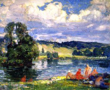Bathers along the Seine Vernon France | Joseph Kleitsch | oil painting