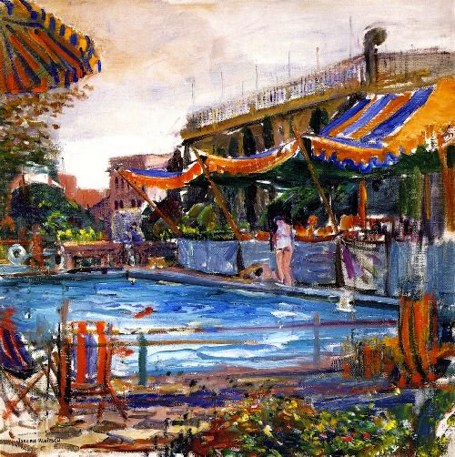 Ambassador Hotel Swimming Pool | Joseph Kleitsch | oil painting