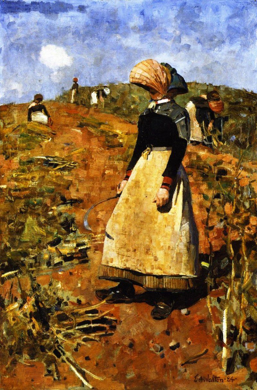 A Berwickshire Fieldworker   Edward Arthur Walton   oil painting