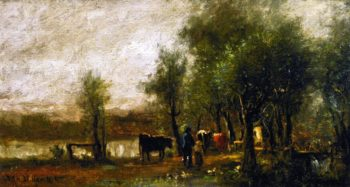 Walking Cattle by a Pond | Charles Henry Miller | oil painting