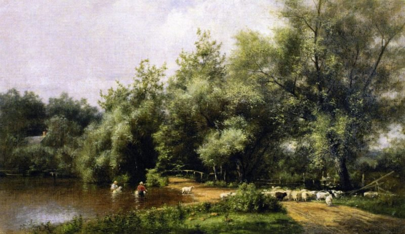 Sheep Washing on Long Island | Charles Henry Miller | oil painting