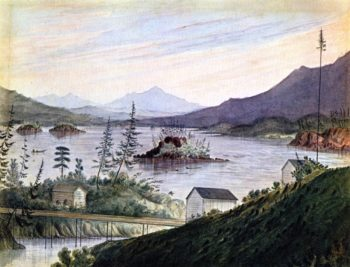 Upper Cacades Looking Up Columbia River | James Madison Alden | oil painting