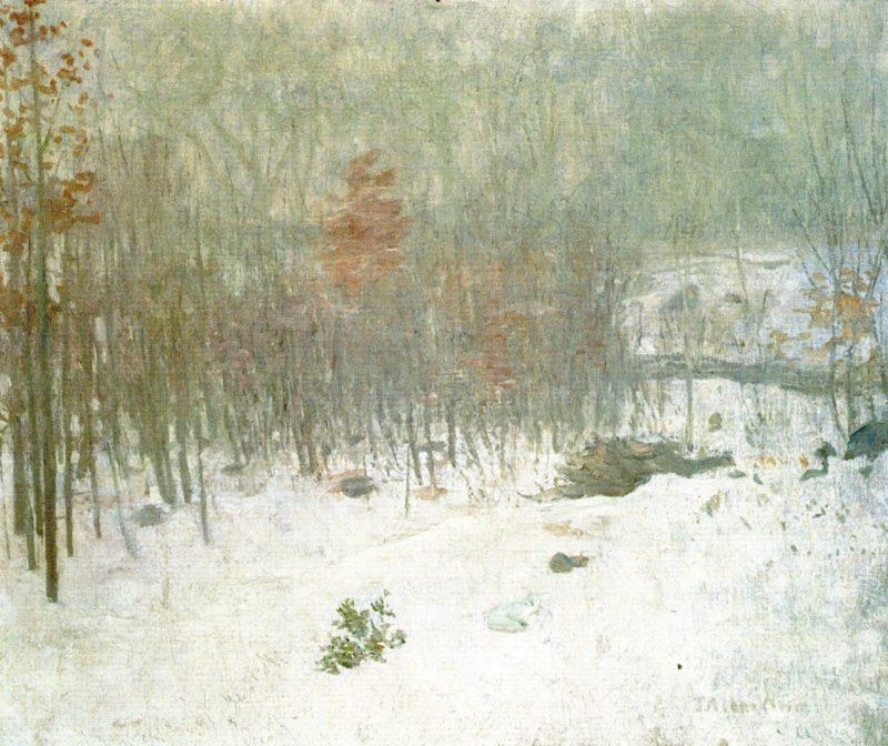 Woods in Snow | Julian Alden Weir | oil painting