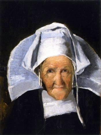 Portrait of a Woman in Normandy Cap | Julian Alden Weir | oil painting