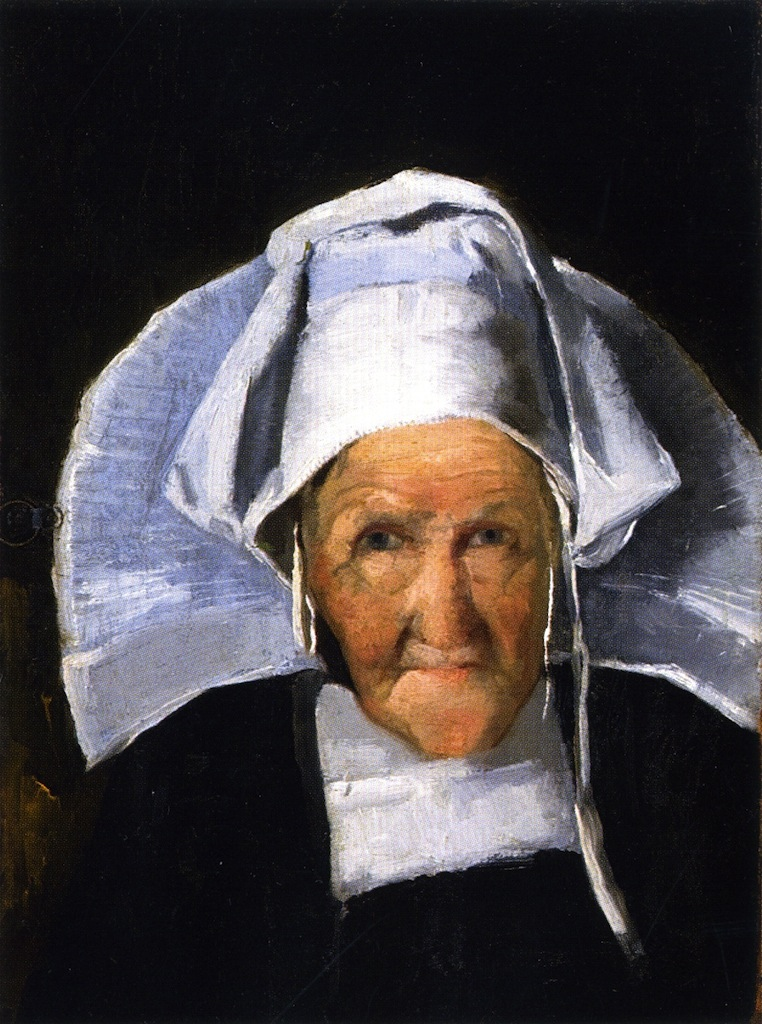 Portrait of a Woman in Normandy Cap | Julian Alden Weir | oil painting
