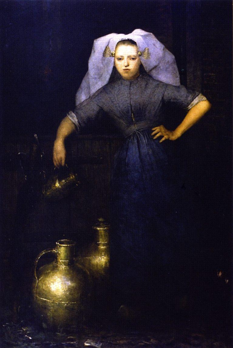 Milkmaid of Popindrecht | Julian Alden Weir | oil painting