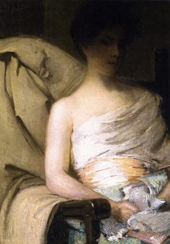 Face in Shadow | Julian Alden Weir | oil painting