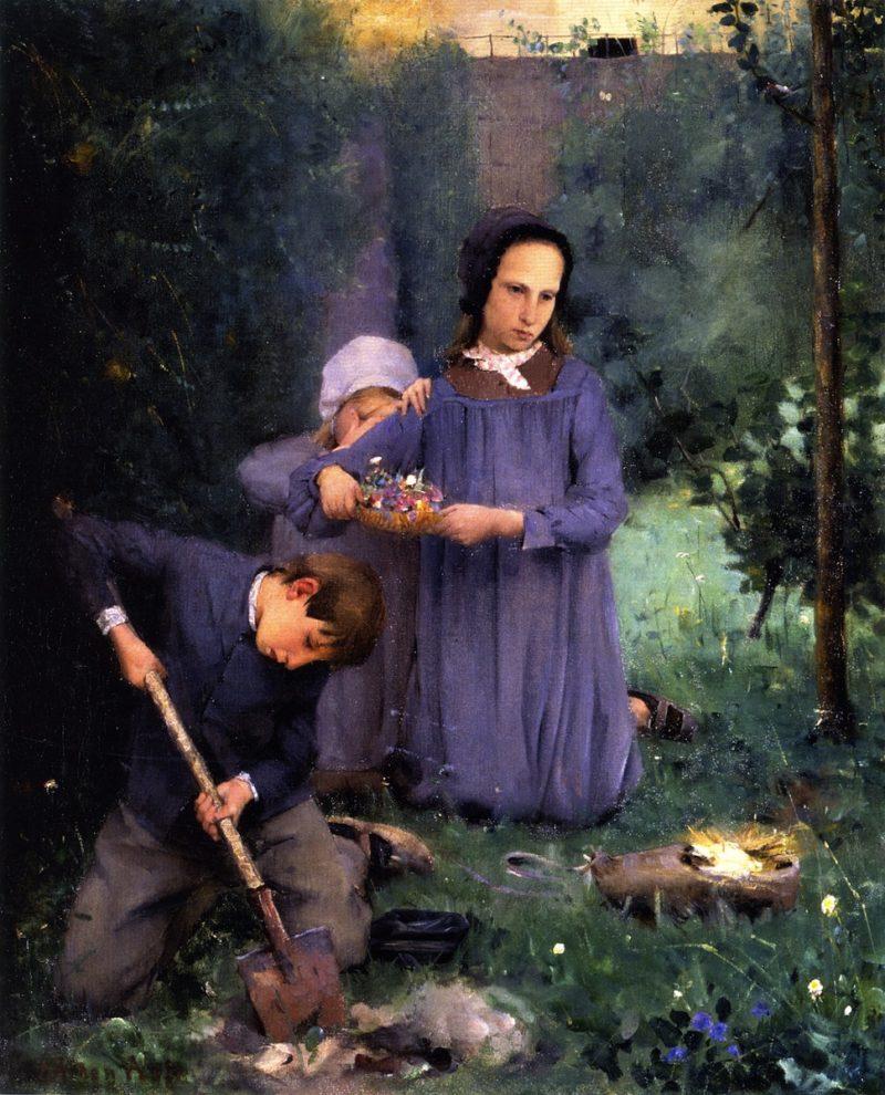 Children Burying a Bird   Julian Alden Weir   oil painting