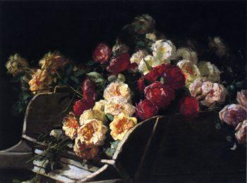Roses in a Wheelbarrow | George Cochran Lambdin | oil painting