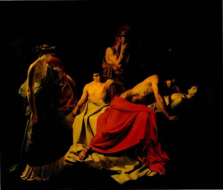 achilles lamenting the death of patroclus 1855   Nikolay Gay   oil painting