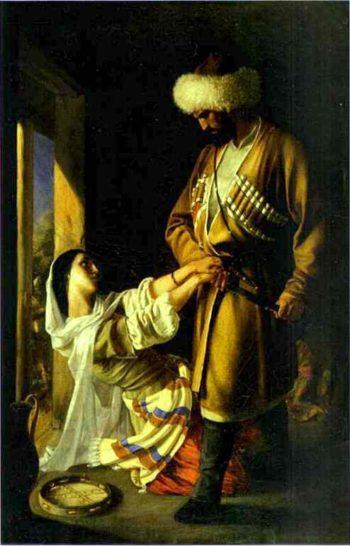 leila and khaji abrek (based on the poem khaji abrek by mikhail lermontov) 1852 | Nikolay Gay | oil painting