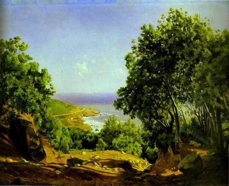 livorno road to the sea at antiniano near livorno 1862 | Nikolay Gay | oil painting