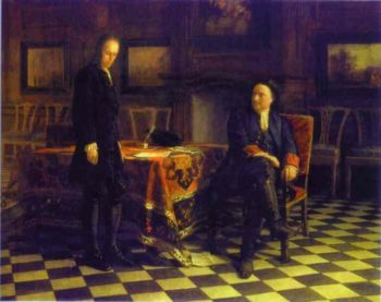 peter the great interrogating the tsarevich alexey petrovich at peterhof 1871 | Nikolay Gay | oil painting
