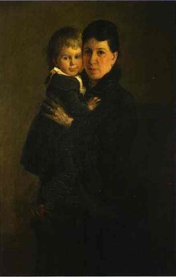 portrait of sophia tolstaya leo tolstoys wife with their daughter alexandra tolstaya 1886 | Nikolay Gay | oil painting